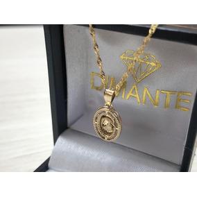 Cadena Y Medalla Zirconia Bebe Bautizo Oro10k Envio Gratis