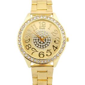 c1f1b40dbf7 Relógio Feminino Dourado Com Números De Strass - Relógios De Pulso ...