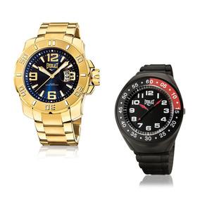 Relógio Everlast Masculino Dourado Analógico E657