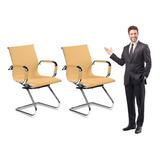 Kit 2 Cadeiras Interlocutor Secretária De Couro Esteirinha
