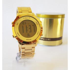 Relogio Lince Digital Dourado Feminino Original Sdph037l