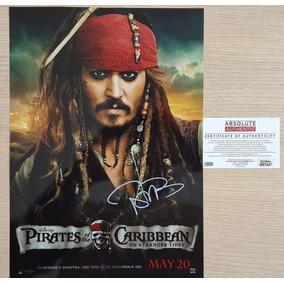 Piratas Do Caribe Poster Autografado Por Jhonny Deep