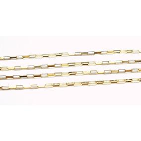 70cm Corrente Elos Retangulares Ouro 18k Sedex