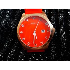 Relógio Original Marc Jacobs Dourado Pulseira Laranja Couro