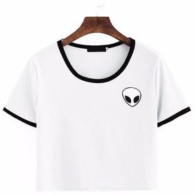 Camiseta Cropped Manga Curta Viés Preto Alien Et Tumblr 8a7ac517f551e