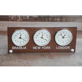 Relógio De Mesa Madeira Horas Mundi