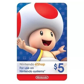 Cartão Nintendo 3ds Switch Wii U Cash Eshop Card 5 Dolares