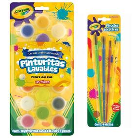 Kit Paquete Escolar 18 Pinturas + 4 Pinceles Crayola
