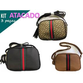 8af8094c61719 Bolsa Estilo Gucci Quadrada Lateral Atacado 3peças