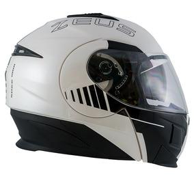 Capacete Zeus 3020 Ab12 C/óculos Branco/preto C/15% Desconto