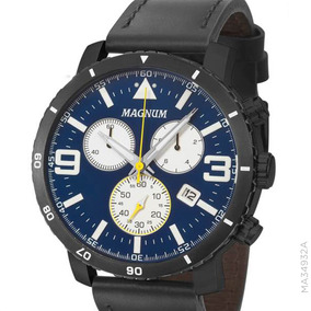 15d1a30b9eb Magnum Cronógrafo De Luxo Aço E Couro Modelo Ma30347 - Relógios De ...