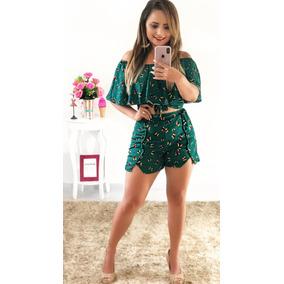 Conjunto Feminino Shorts E Cropped Conjuntinho Blogueiras!!!