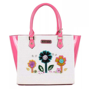 Nicole Lee Cartera Laser Cut Pop Flowers Shopper Bag White