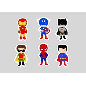 100 Tags Toppers Festa Super Heróis Aniversário 3,5cm