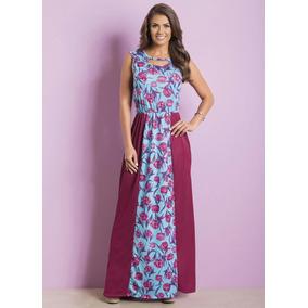 Vestido Com Recortes Floral Moda Evangélica Frete Grátis