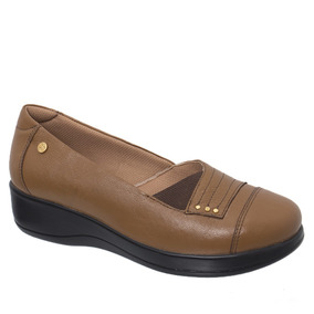 Sapato Feminino Diabético Em Couro Caramelo 7991 Doctor Shoe
