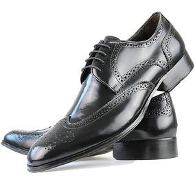 Sapato Social Oxford Feito A Mão Com Cadarço Couro Preto
