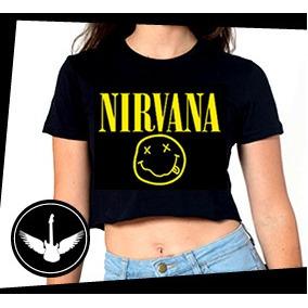 c4ddcaee76 Blusa Cropped Nirvana Banda Rock Camisa Feminina Grunge - R  44