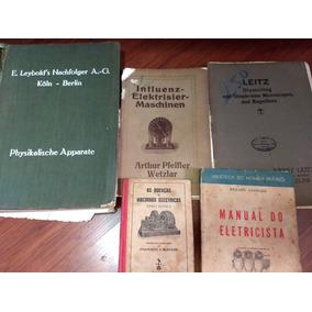 5 Livros Antigos Máquinas Elétricas Equipamentos Laboratório