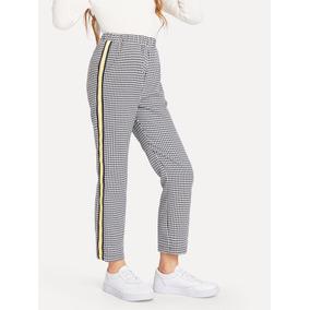 60720c4420 Pantalones De Niñas De Guingán Con Cinta Lateral De Rayas