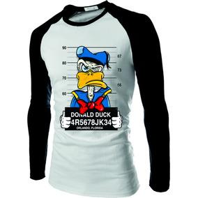 Camiseta Raglan Manga Longa Pato Donald Thug Estilo Nine 9f579a00878