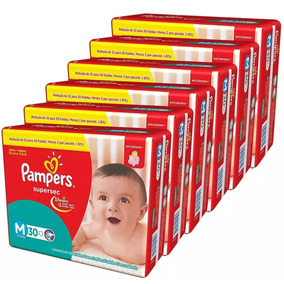 Kit Com 5 Fraldas Pampers Supersec M Atacado Com 150 Unid.