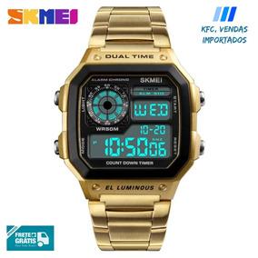a19a619e4e2f5 Relógio Skmei Digital Original À Prova D água - Dourado