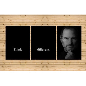 Conjunto 3 Quadros Steve Jobs Think Different 90x42cm Grande