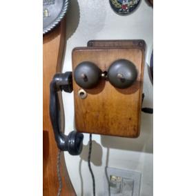 Telefone Antigo Original Caixa Madeira Xerife
