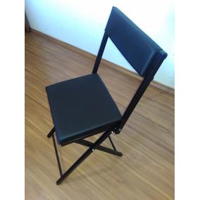 Cadeira Almofadada Dobrável Metal Quadrada Várias Cores