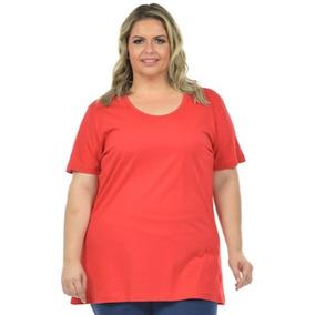 Camiseta Feminina Plus Size Básica Fenomenal Tamanho Eg 36050dbde1384