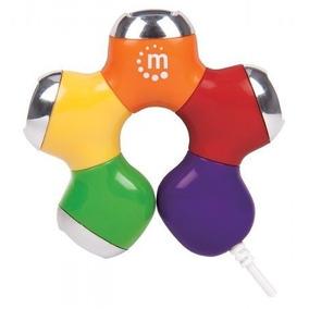 Hub Usb V2.0 4 Ptos Flor Multicolor Manhattan 161053 Negro