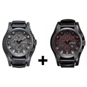 Dois Relógios Esporte Fino Curren 8225 Couro C/ Garantia