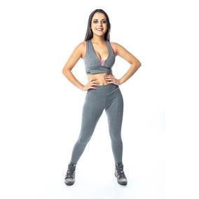 Cropped E Legging Fitness Mescla Feminino
