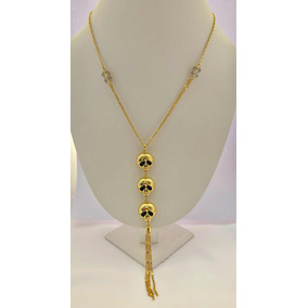 Collar 3 Calaveras Oro Laminado 18k+ Estuche+ Envio Gratis.