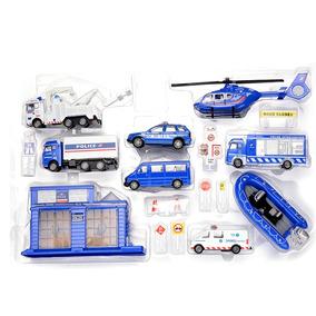Set Policia Estacion Helicoptero Camion Grua Ambulancia - Ub