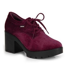 e2470f05d Sapato Oxford Quiz Veludo Salto Tratorado Bordo Ref 48-69202