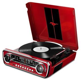 Toca-discos Retro Lp Vinil Mustang Ion Rádio Usb Entrada Aux