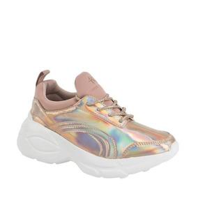 Tenis Sneakers Mini Plataforma 617 Rosa Gold Efecto Tornasol