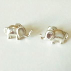 Aretes Con Forma De Elefante De Plata Sólida .925