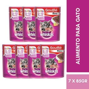 Kit 7 Sobres Whiskas Alimento Gatitos 2-12 Meses Res 85g