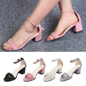 Moderna Zapatillas Mujer Sencilla De Cuero Tacón Bajo Fiesta · 4 colores 3ddd2c335a2b
