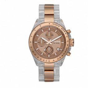 Reloj Fossil Ch2680 Caballero Acrilico Trasparente Y Cobre