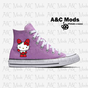 Tenis Hello Kitty Cute Strawberry Lila Pintado A Mano