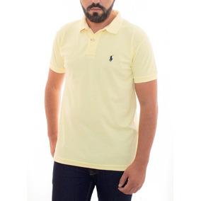 52ca54eb97919 Camisa Polo Ralph Lauren Amarelo Claro Cst Fit Bordado Azul