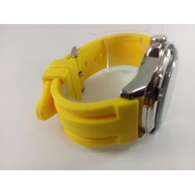 Pulseira Em Borracha Silicone Amarela 22mm E 24mm!