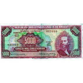 Cédula 5 Mil Cruzeiros - 1963 - Tiradentes-nota Rarissima