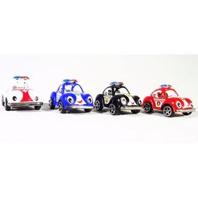 Conjunto 04 Mini Fusca Policial Colorido Promoçaõ