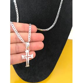 Corrente Escama Com Pingente Crucifixo Prata 925 Italiana