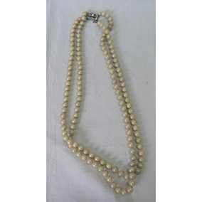 16cd59935ade Antiguo Collar Vintage Perlas Fantasia Broche Rectangular